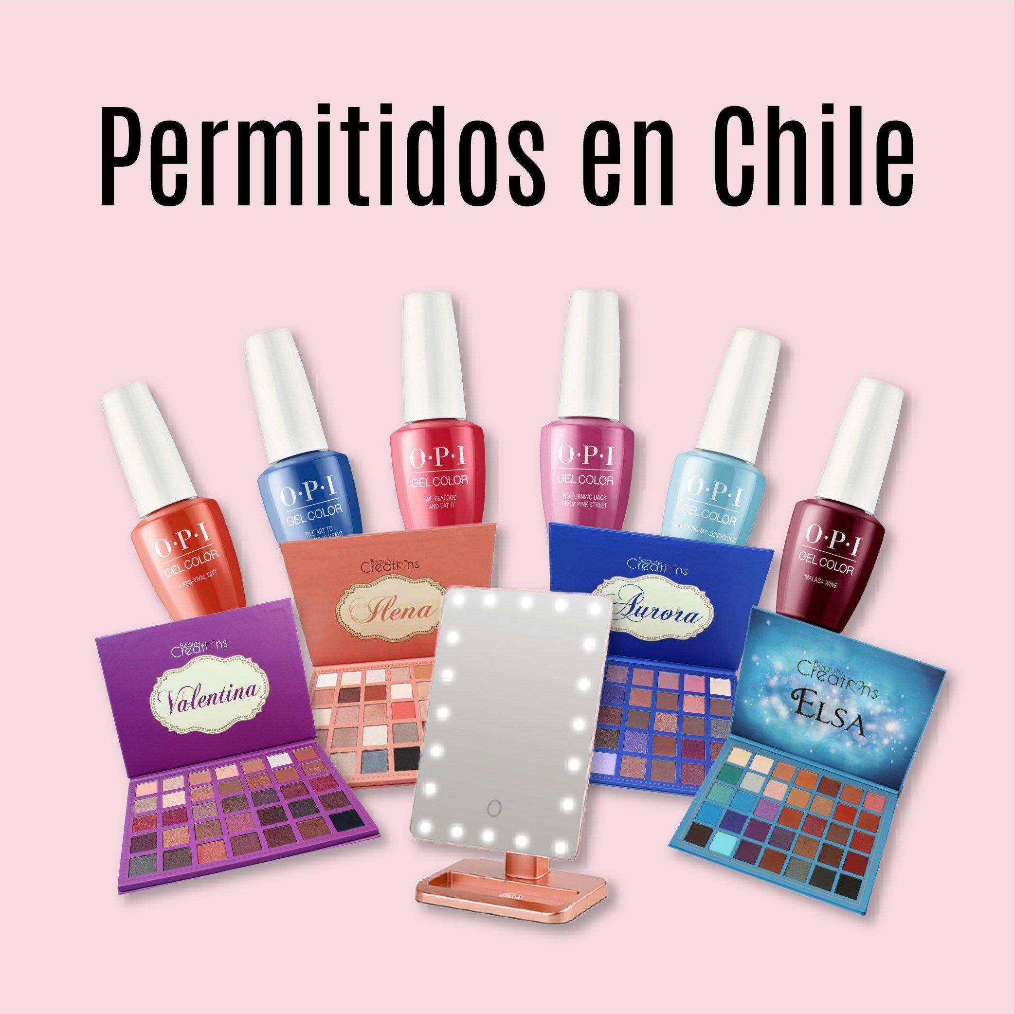 Una colección de productos para uñas OPI y paletas de maquillaje Beauty Creations con el texto Importable to Chile en la parte superior
